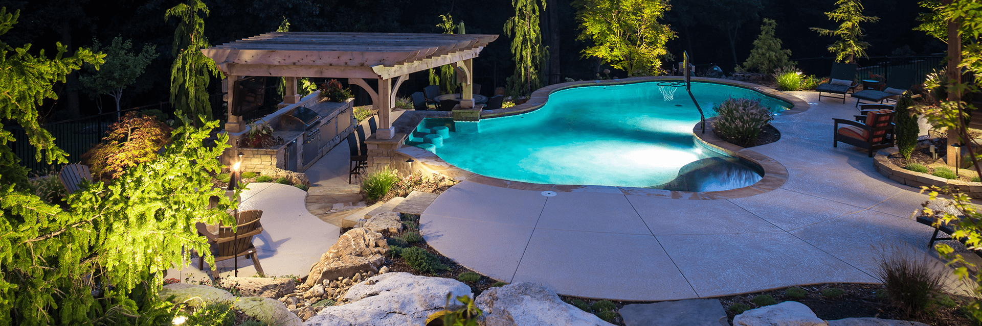 Custom landscape lighting for around a pool